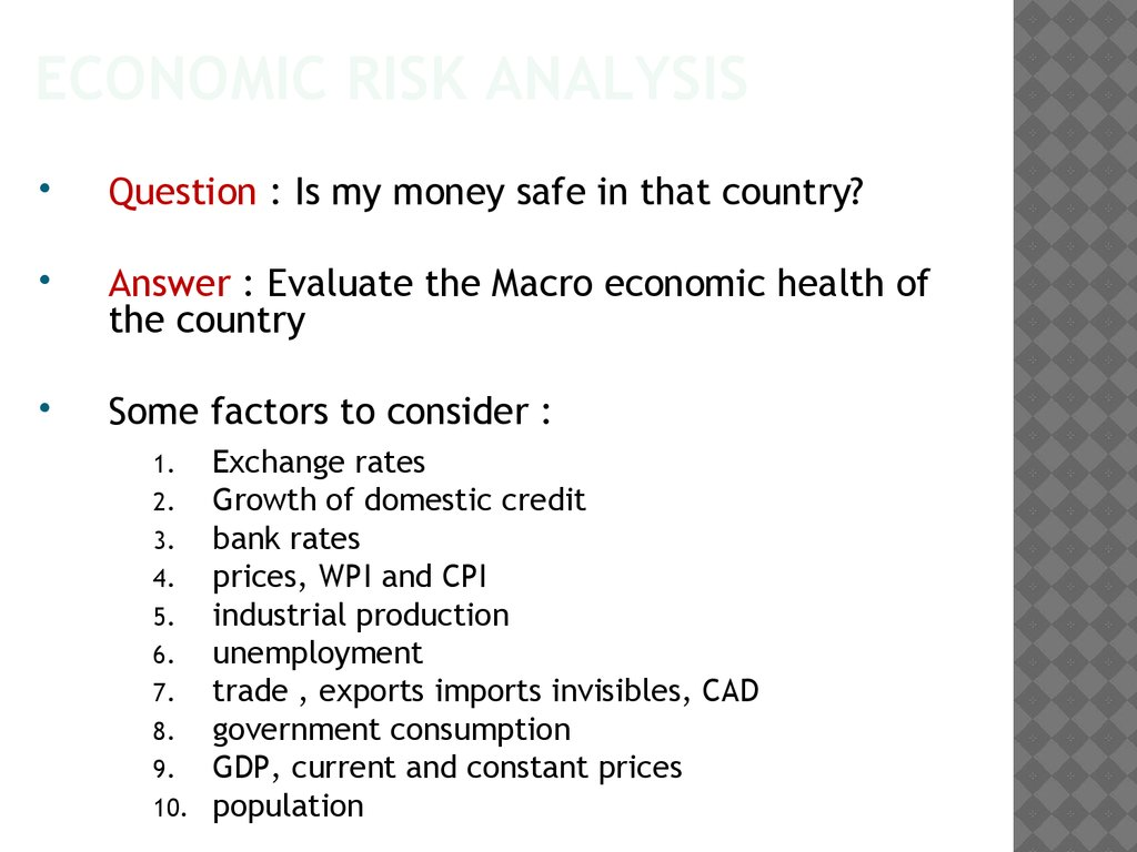 Economic risk analysis