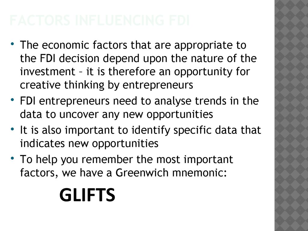 Factors influencing FDI