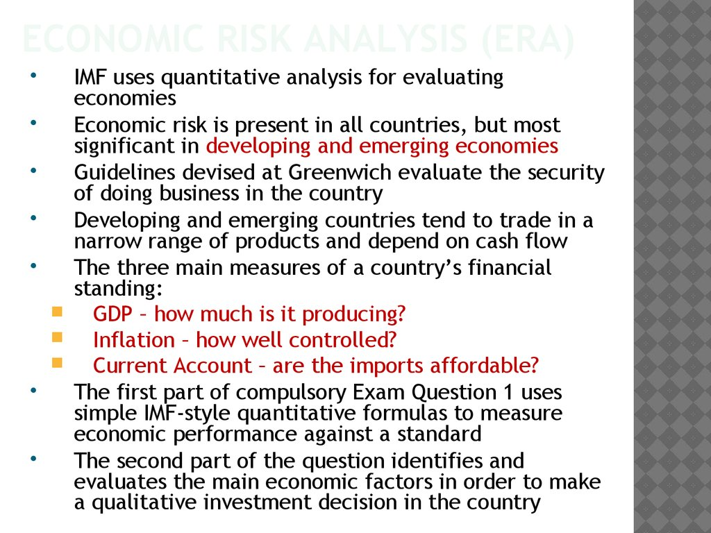 Economic Risk Analysis (ERA)