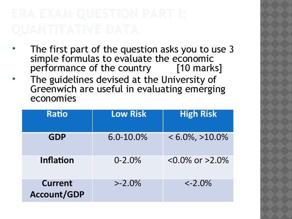ERA Exam question Part I: Quantitative data