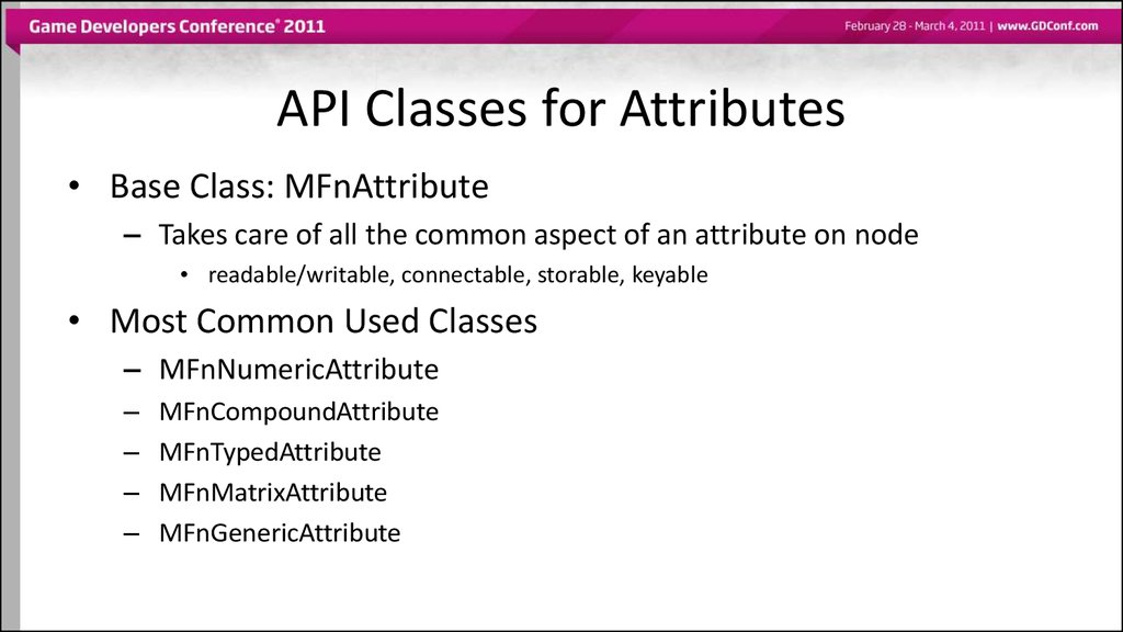 API Classes for Attributes