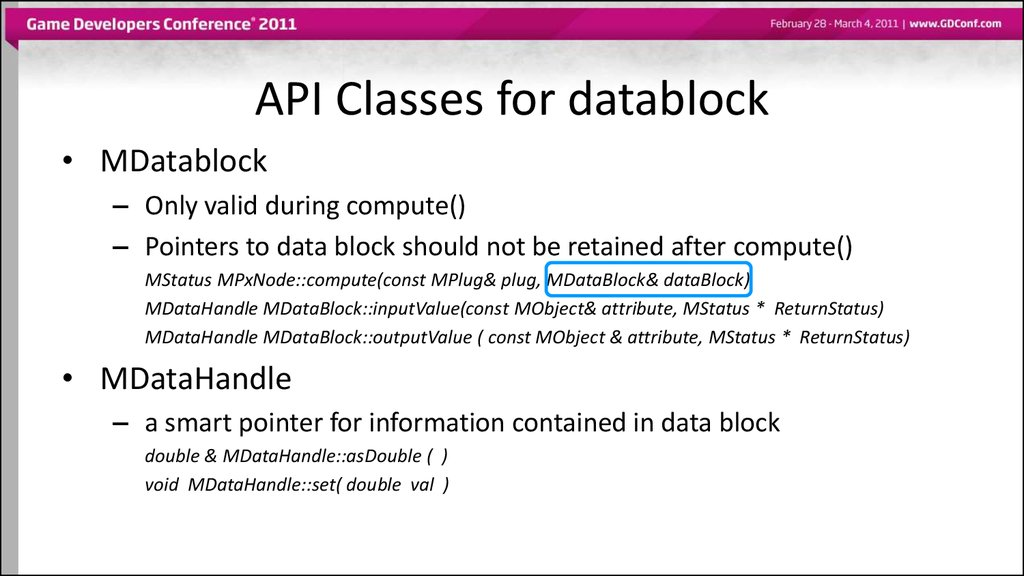 API Classes for datablock