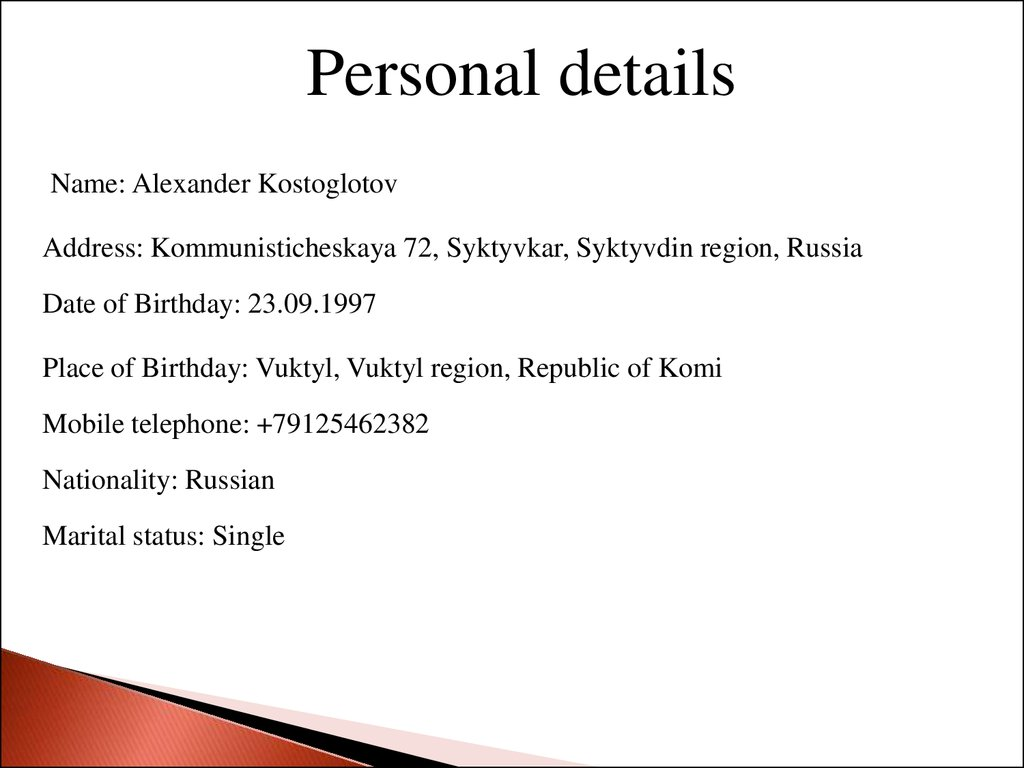 Details Of Single Russian