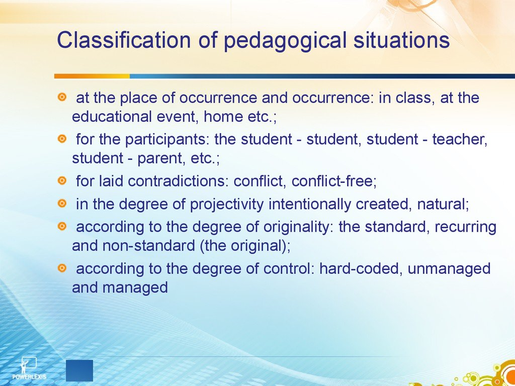 Classification of pedagogical situations