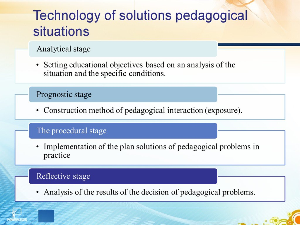Technology of solutions pedagogical situations
