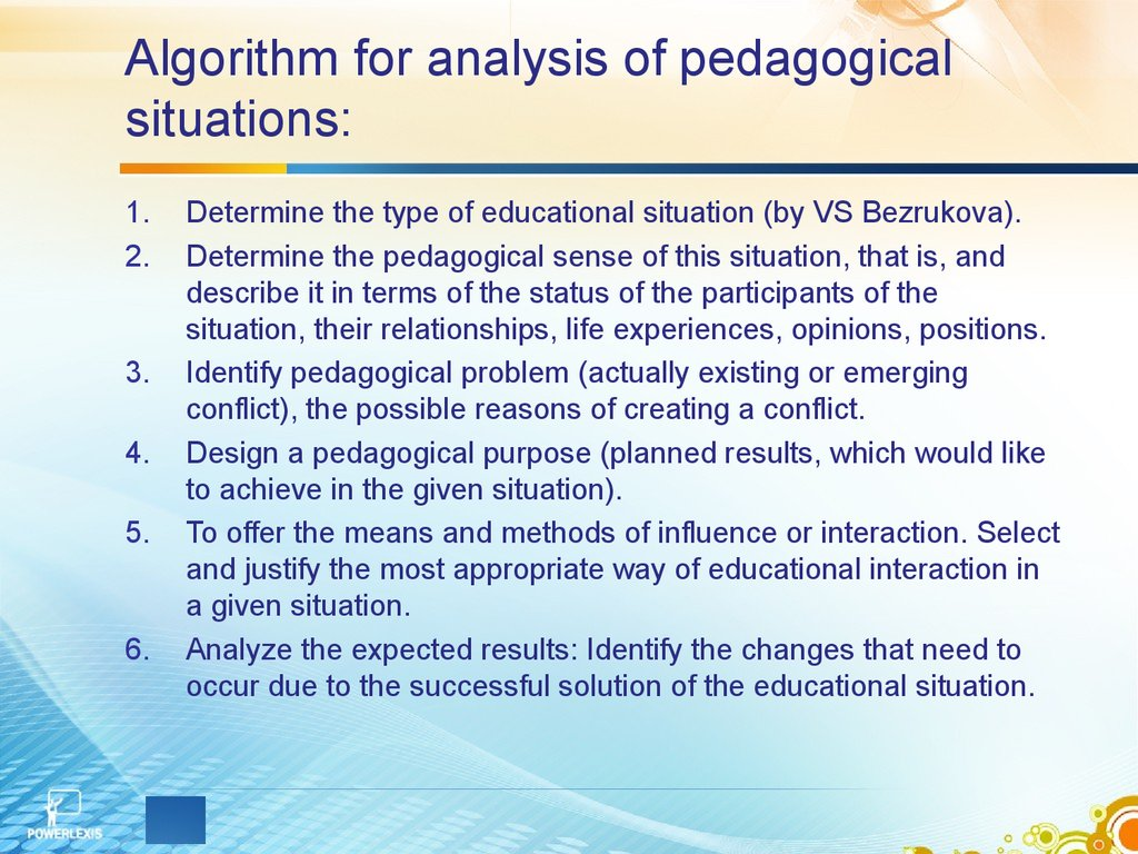 Algorithm for analysis of pedagogical situations:
