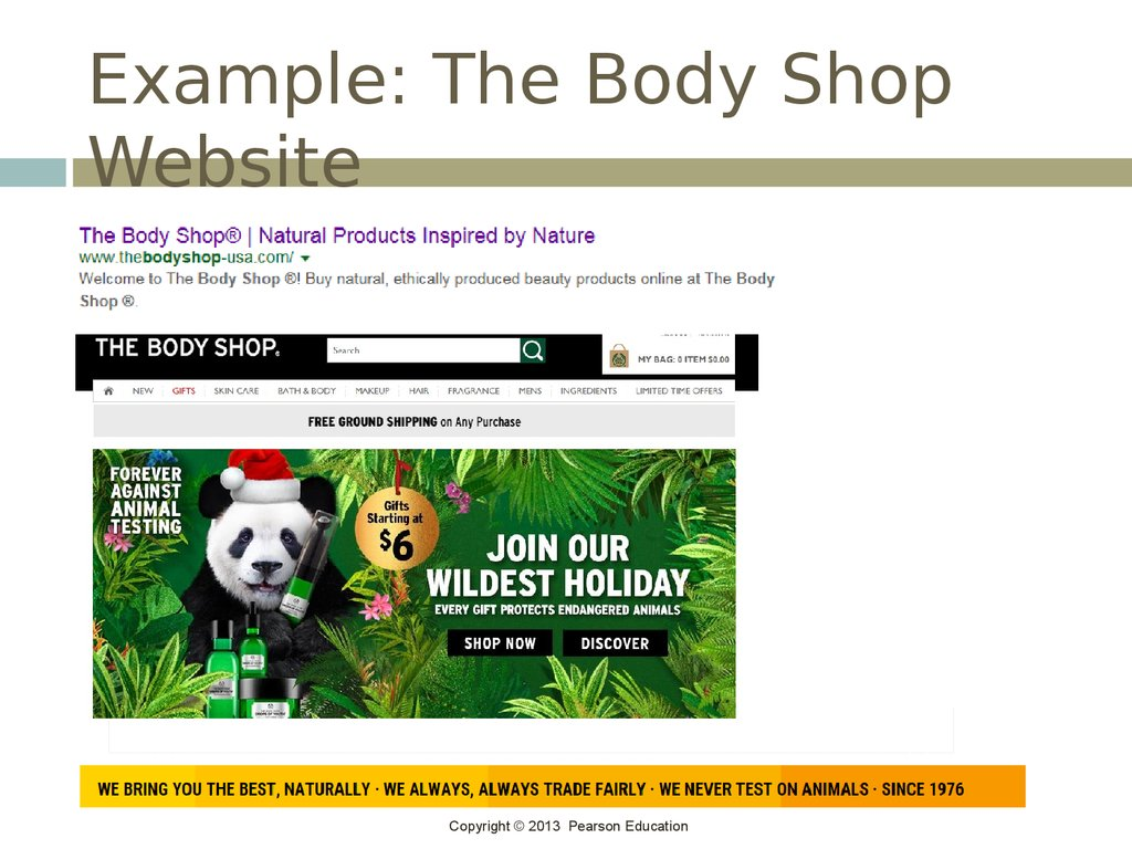 Example: The Body Shop Website