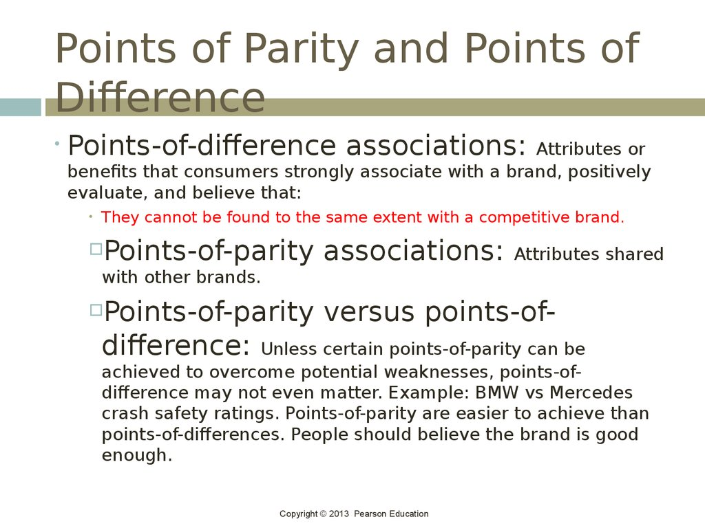 Points of Parity and Points of Difference