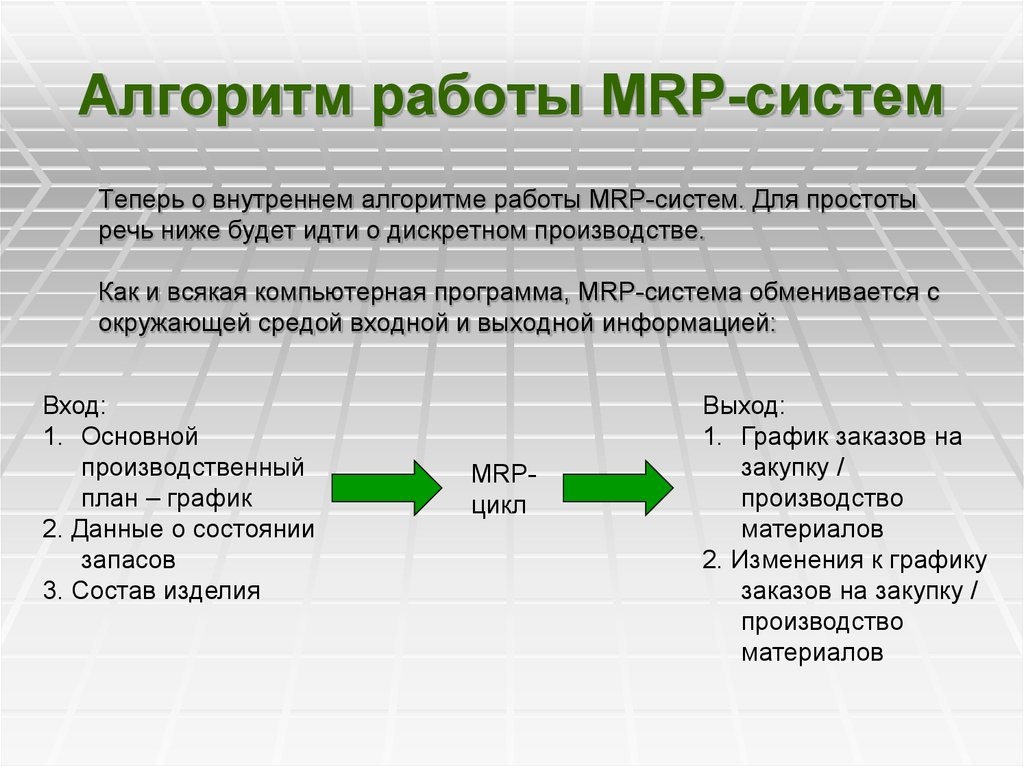 mrp algorithm Algorithm is the largest macola partner and reseller worldwide, providing implementation, customization, and support for macola 10, progression, synergy and macola es algorithm's macola experts have been serving small-to mid-sized manufacturing and distribution organizations since 1993.