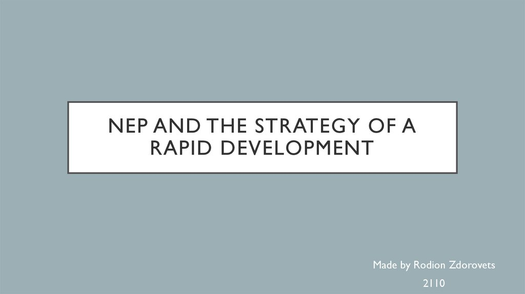 NEP and the strategy of a rapid development
