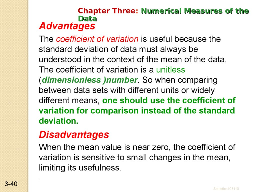 Advantages of Coefficient of Variation