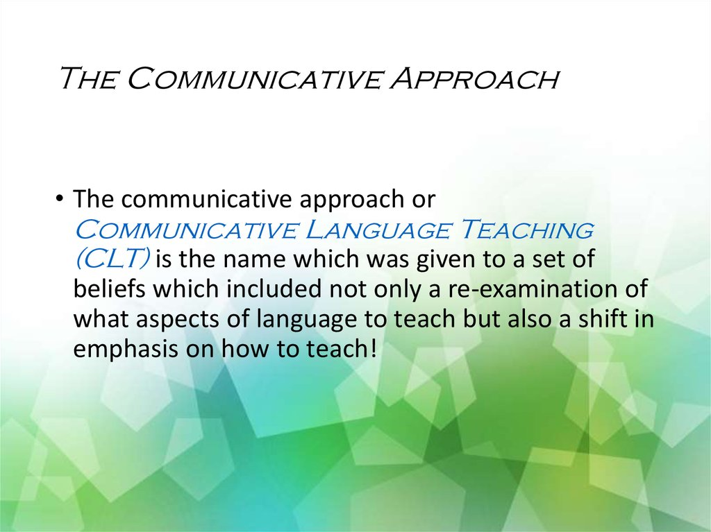 implementation of communicative language teaching in The relationship between efl teachers' attitudes towards clt and factors in the implementation of task-based teaching in communicative language teaching:.