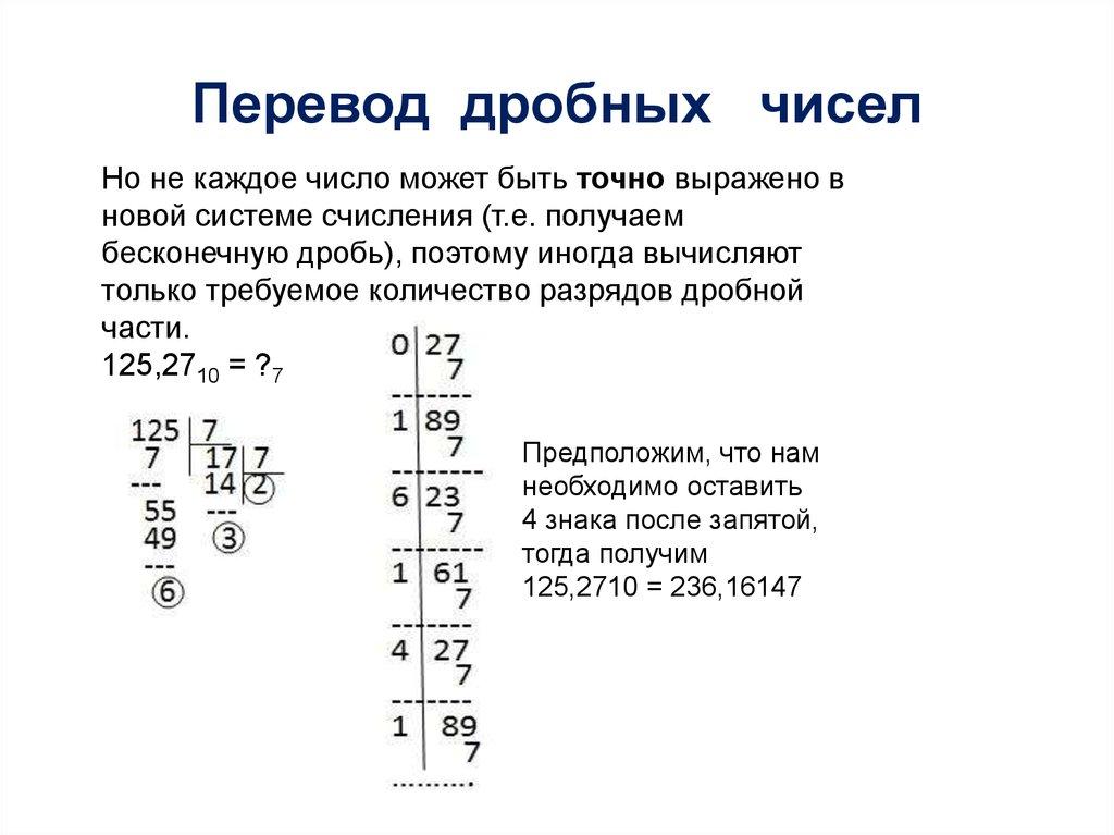 Перевод натуральных чисел в четвертичную систему счисления