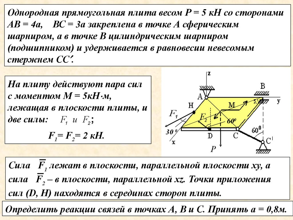 Пространственная система произвольных сил решение задач как записать решение задачи в 1 классе