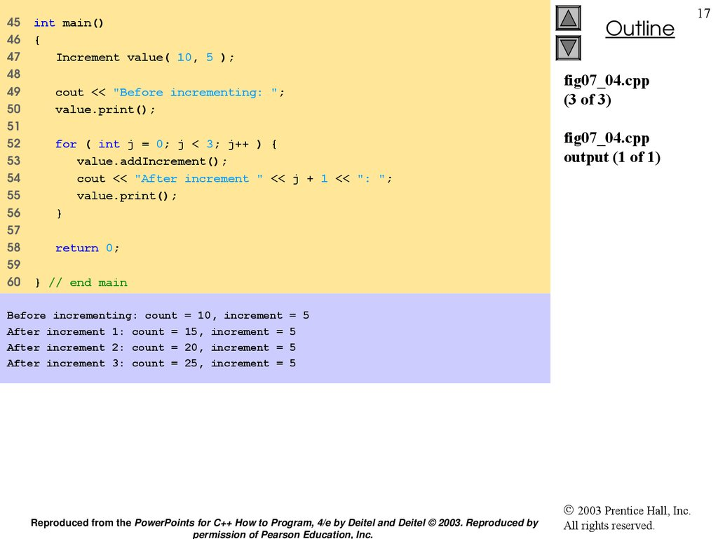 fig07_04.cpp (3 of 3) fig07_04.cpp output (1 of 1)