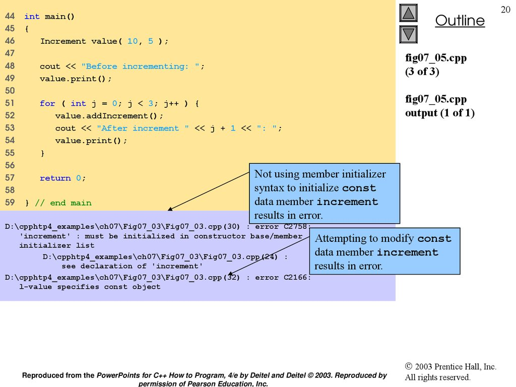 fig07_05.cpp (3 of 3) fig07_05.cpp output (1 of 1)