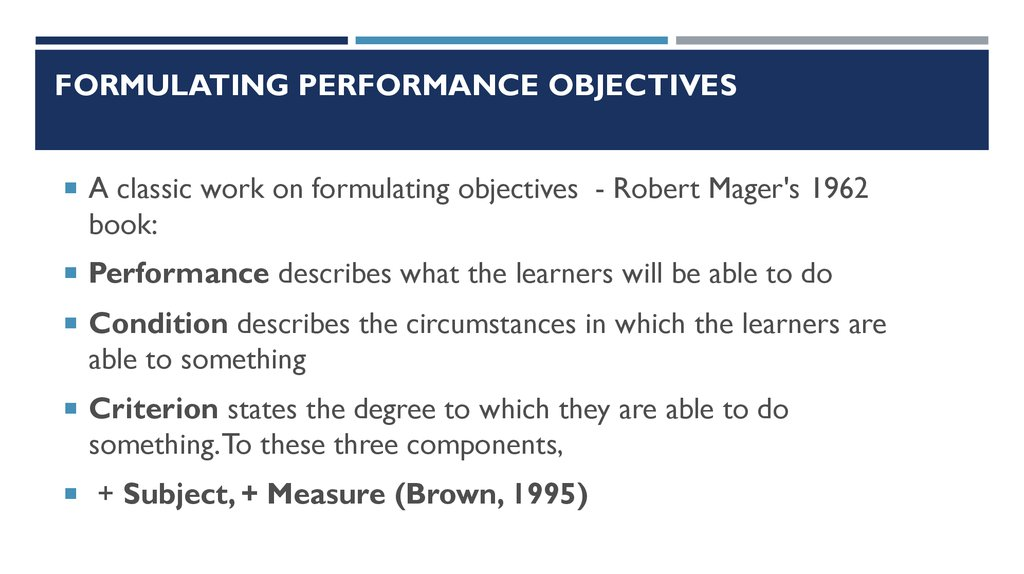 Formulating performance objectives
