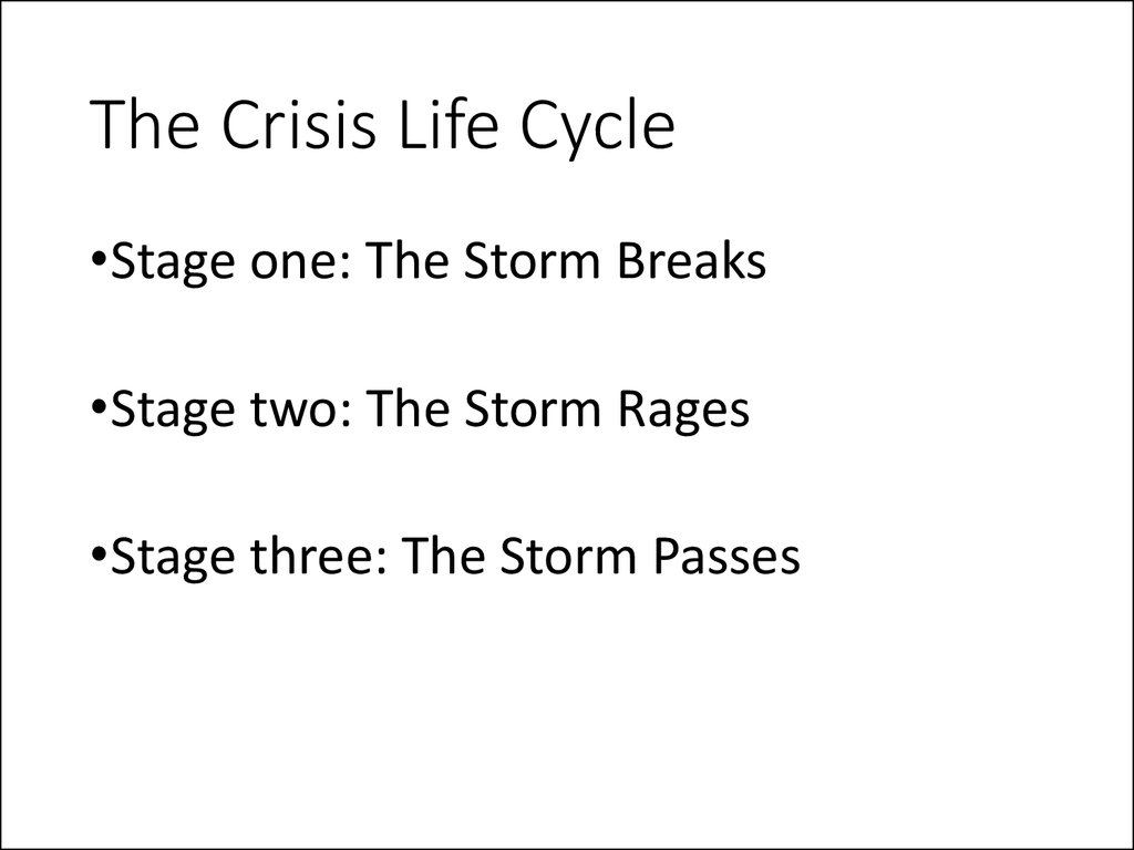 The Crisis Life Cycle