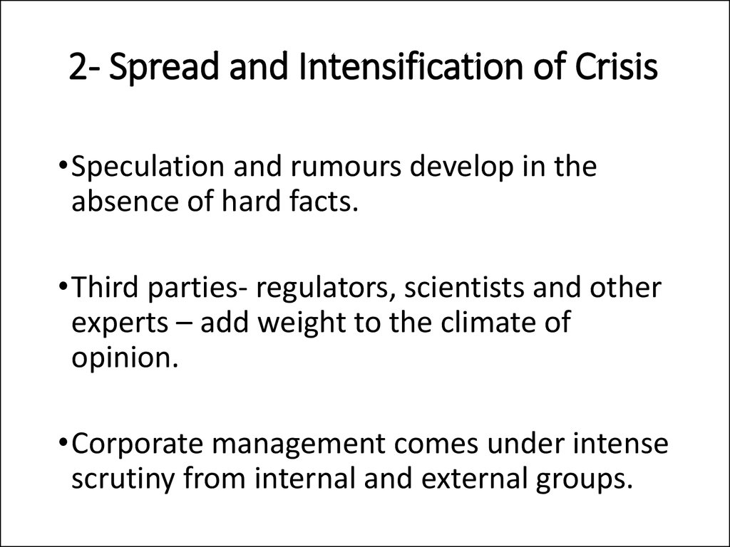 2- Spread and Intensification of Crisis