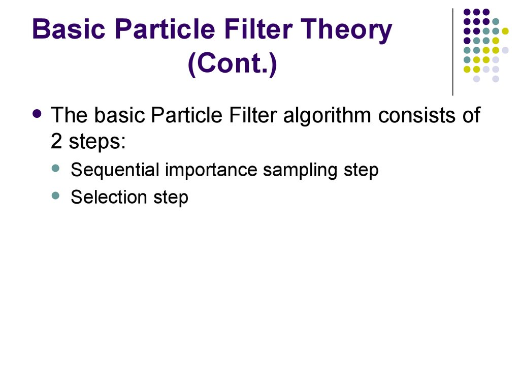 Basic Particle Filter Theory (Cont.)