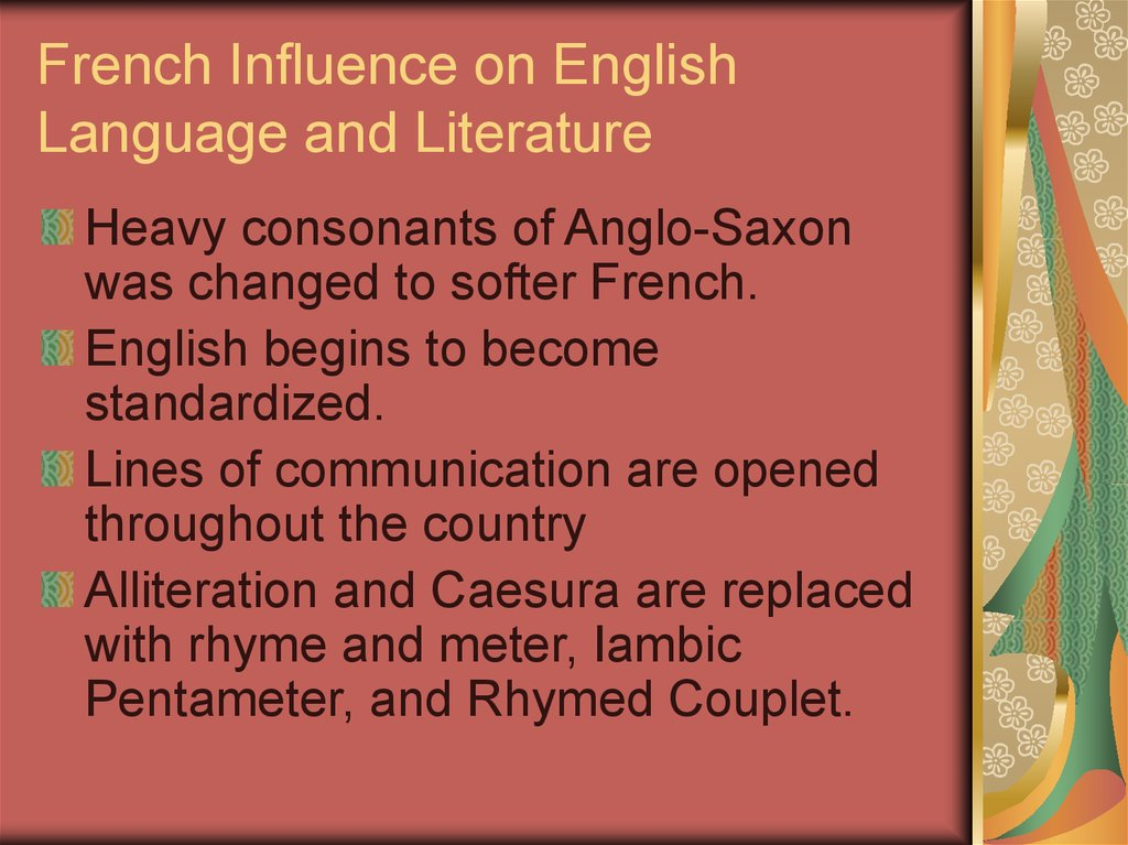 French Influence on English Language and Literature