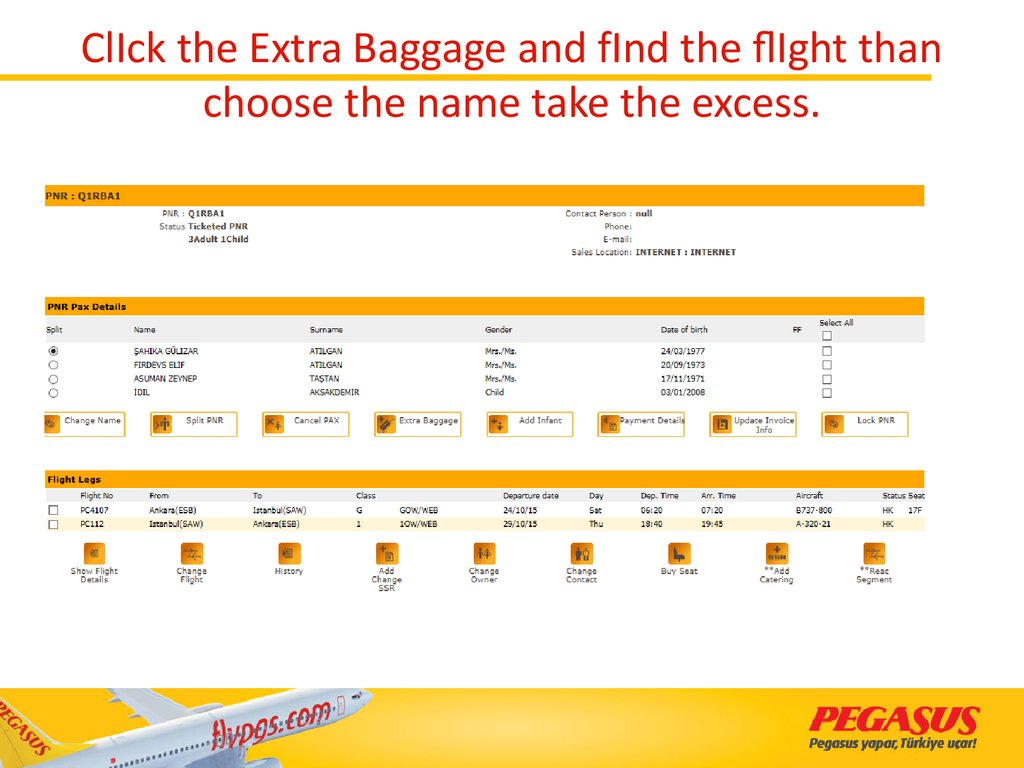 ClIck the Extra Baggage and fInd the flIght than choose the name take the excess.