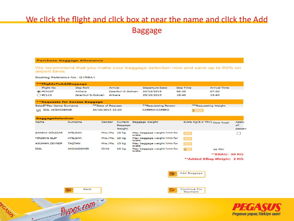 We clIck the flIght and clIck box at near the name and clIck the Add Baggage