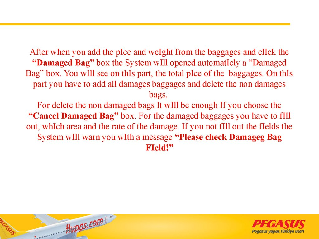 "After when you add the pIce and weIght from the baggages and clIck the ""Damaged Bag"" box the System wIll opened automatIcly a ""Damaged Bag"" box. You wIll see on thIs part, the total pIce of the baggages. On thIs part you have to add all damages ba"