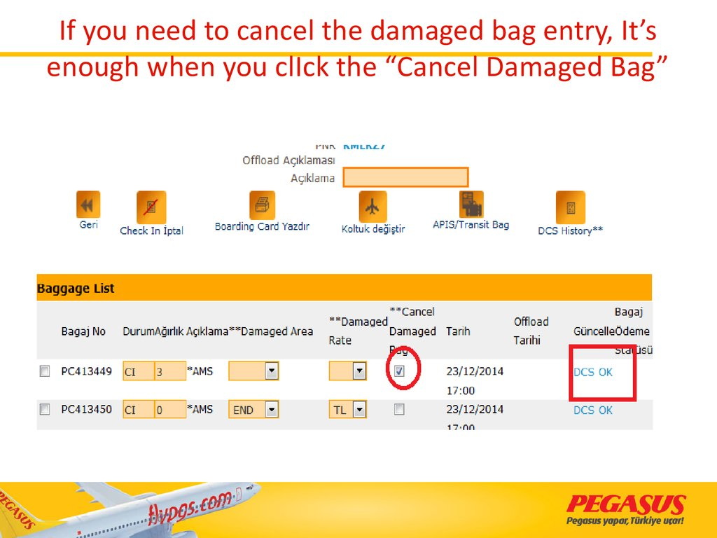 "If you need to cancel the damaged bag entry, It's enough when you clIck the ""Cancel Damaged Bag"""