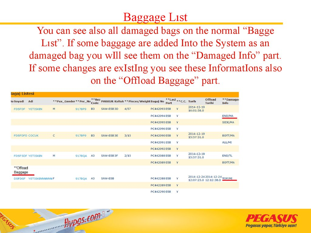 "Baggage Lıst You can see also all damaged bags on the normal ""Bagge Lıst"". If some baggage are added Into the System as an damaged bag you wIll see them on the ""Damaged Info"" part. If some changes are exIstIng you see these InformatIons also on"