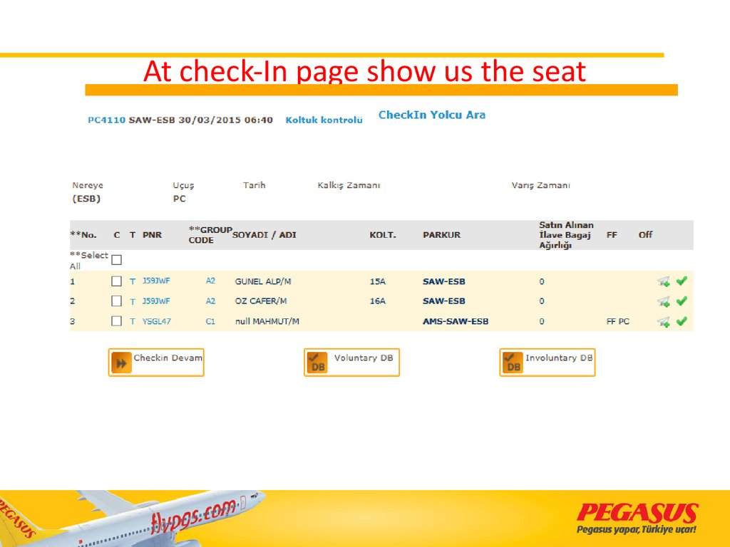 At check-In page show us the seat