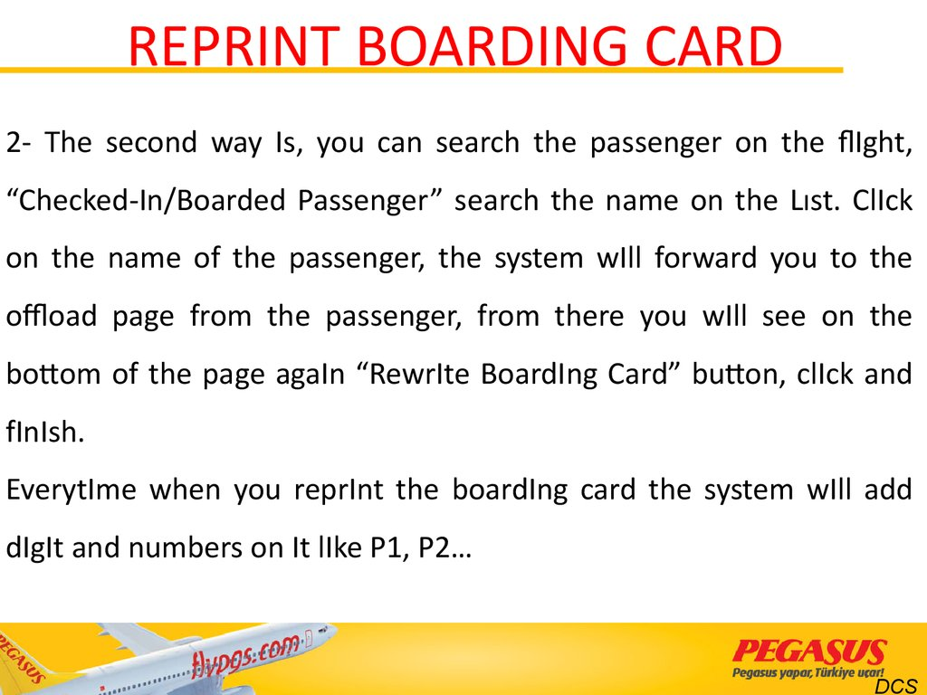 REPRINT BOARDING CARD