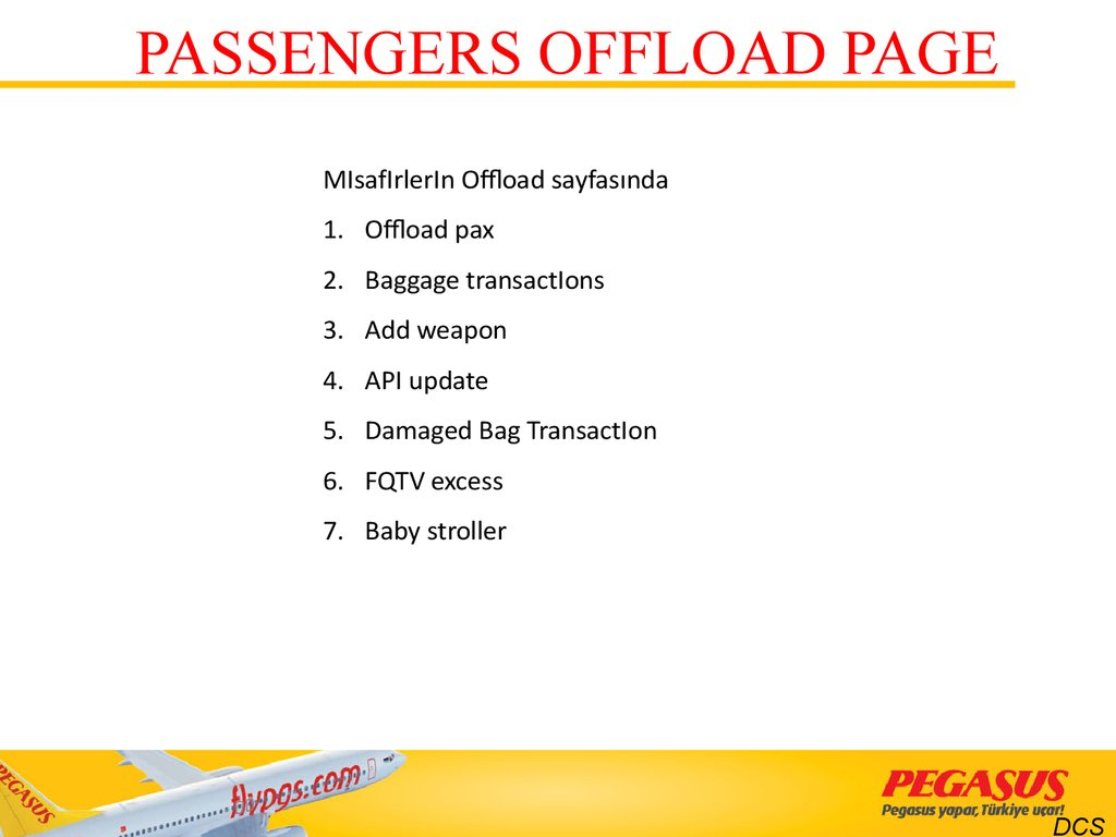 PASSENGERS OFFLOAD PAGE