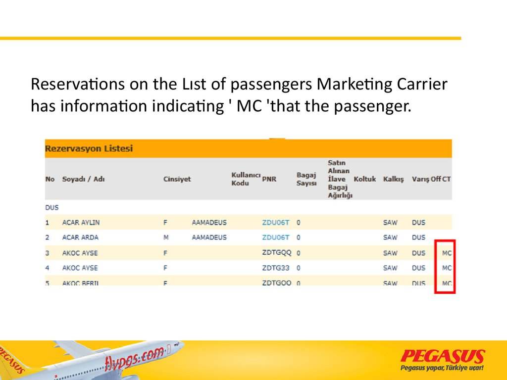 Reservations on the Lıst of passengers Marketing Carrier has information indicating ' MC 'that the passenger.