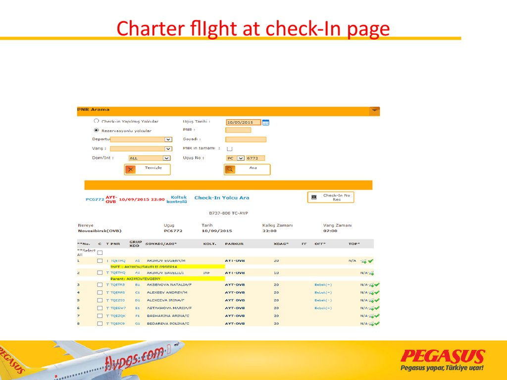 Charter flIght at check-In page