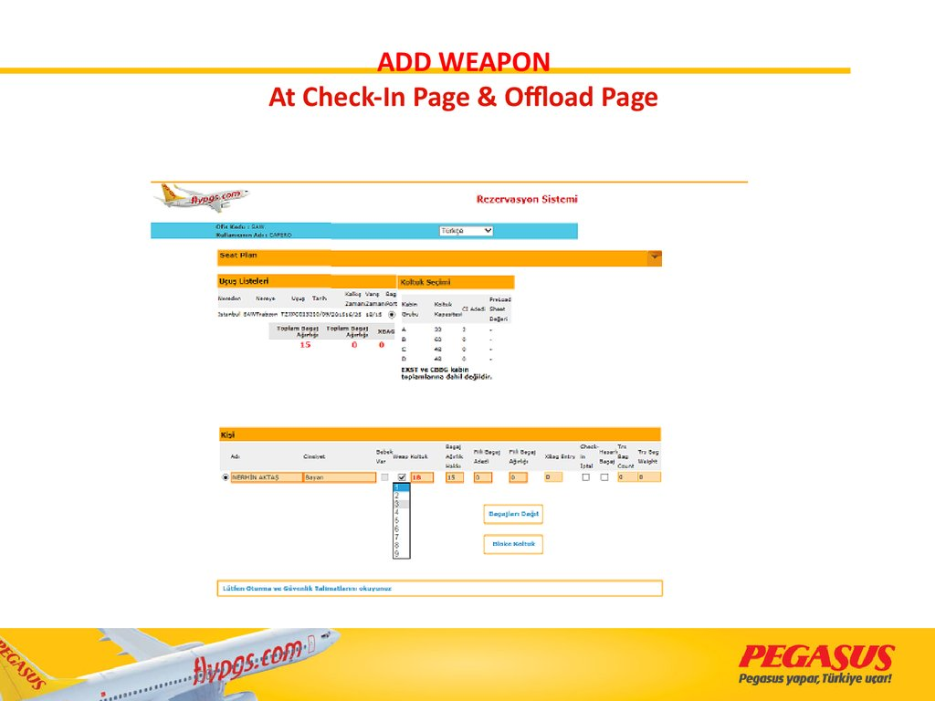 ADD WEAPON At Check-In Page & Offload Page