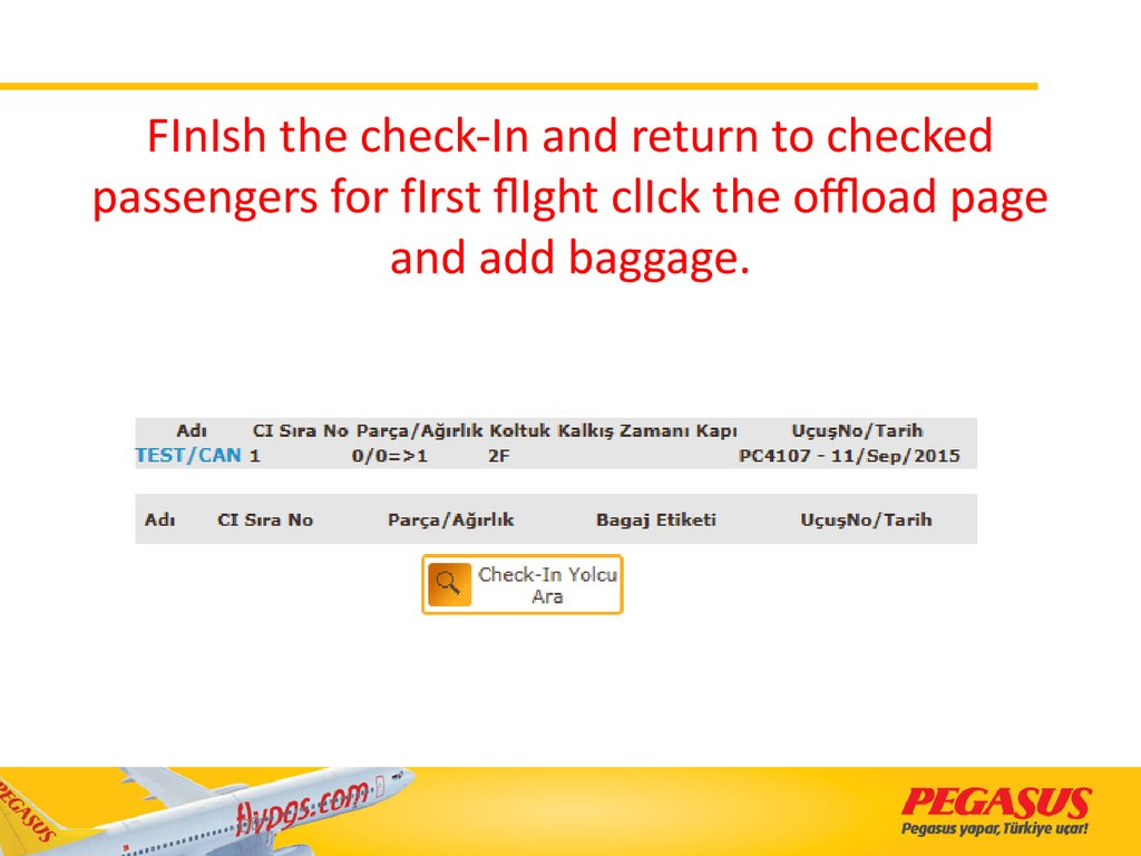 FInIsh the check-In and return to checked passengers for fIrst flIght clIck the offload page and add baggage.