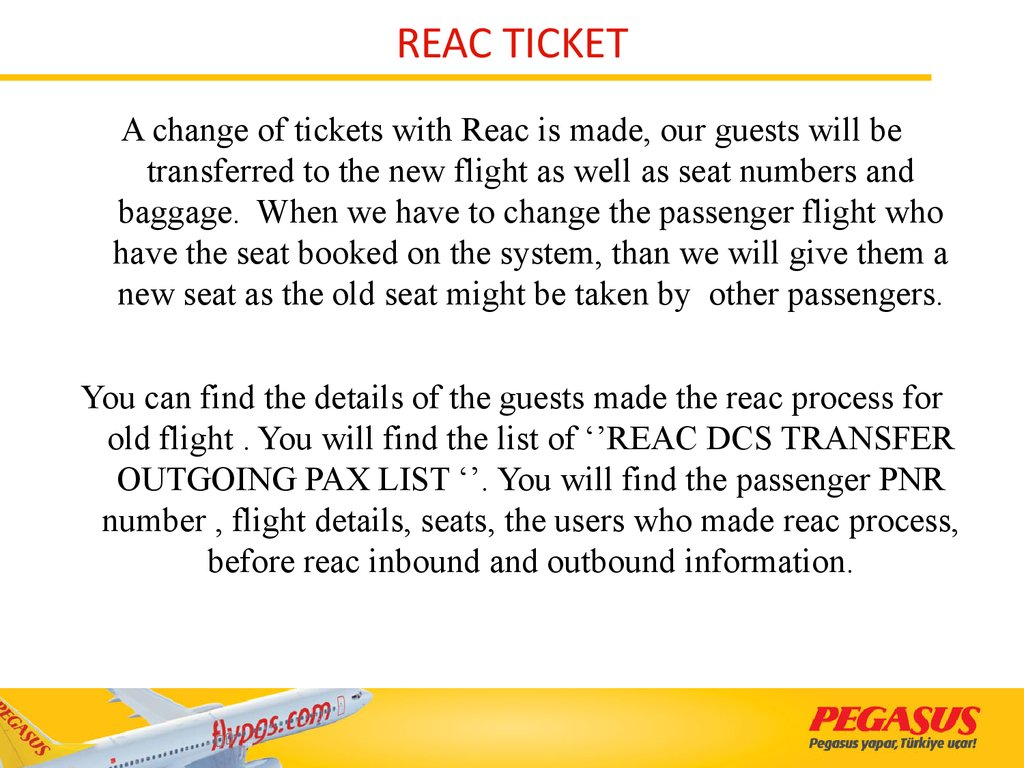 REAC TICKET