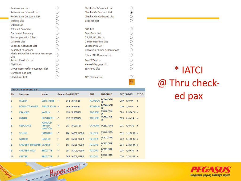 * IATCI @ Thru check-ed pax