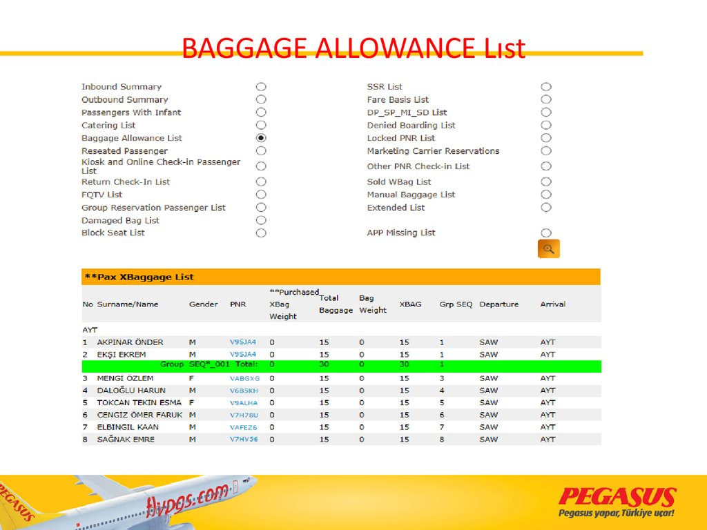BAGGAGE ALLOWANCE Lıst