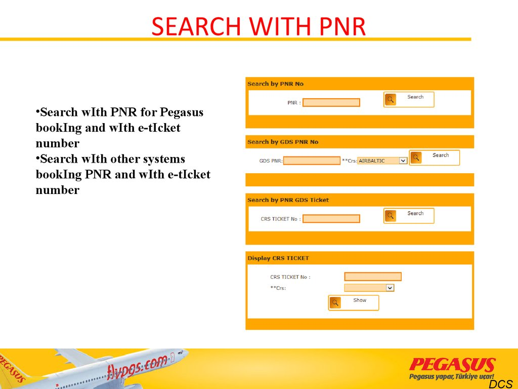 SEARCH WITH PNR