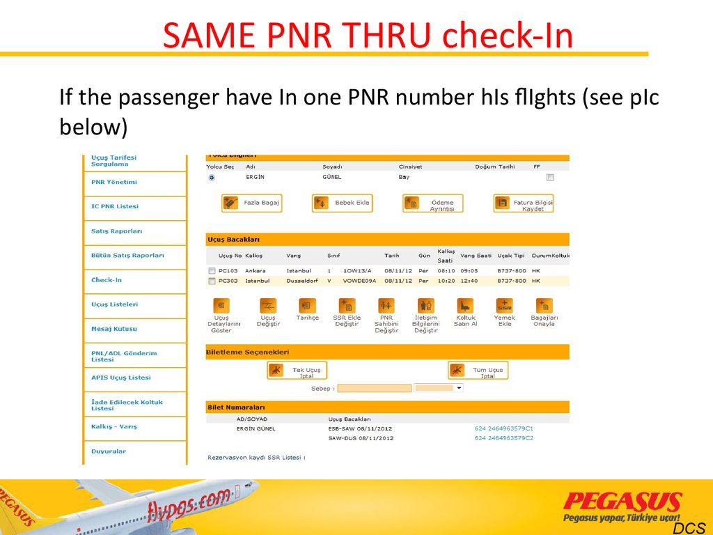 SAME PNR THRU check-In