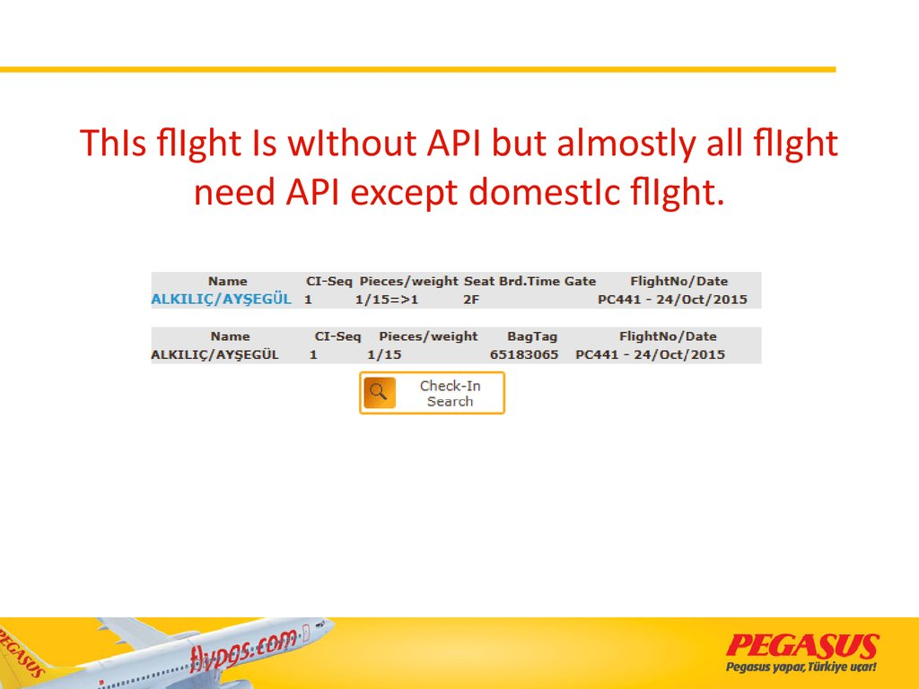 ThIs flIght Is wIthout API but almostly all flIght need API except domestIc flIght.