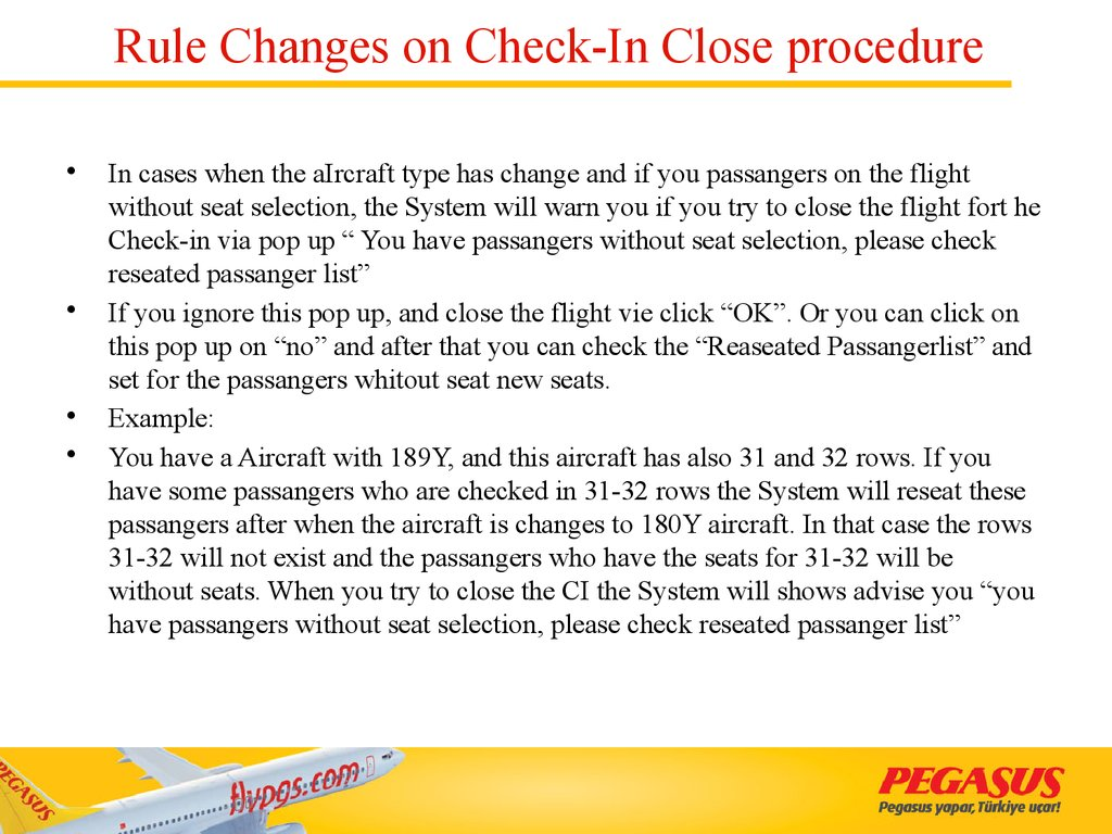Rule Changes on Check-In Close procedure