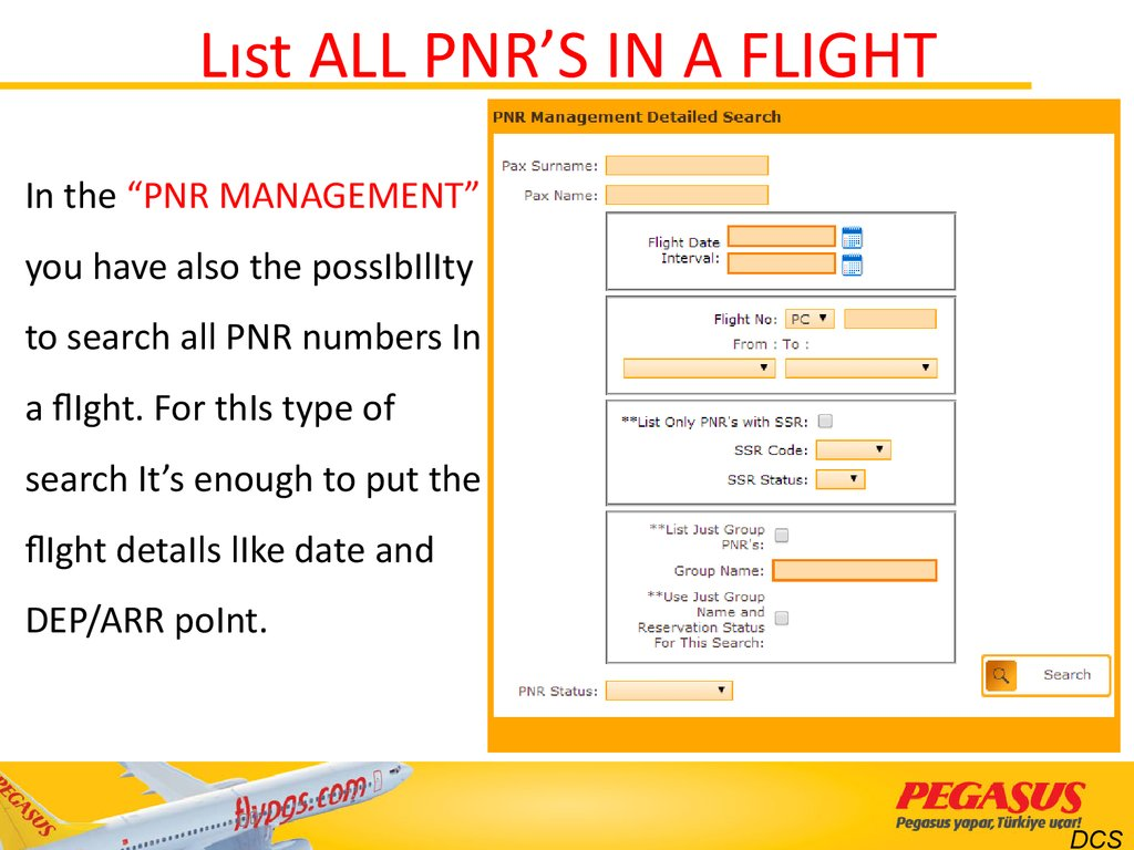 Lıst ALL PNR'S IN A FLIGHT