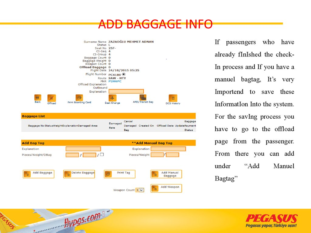 ADD BAGGAGE INFO
