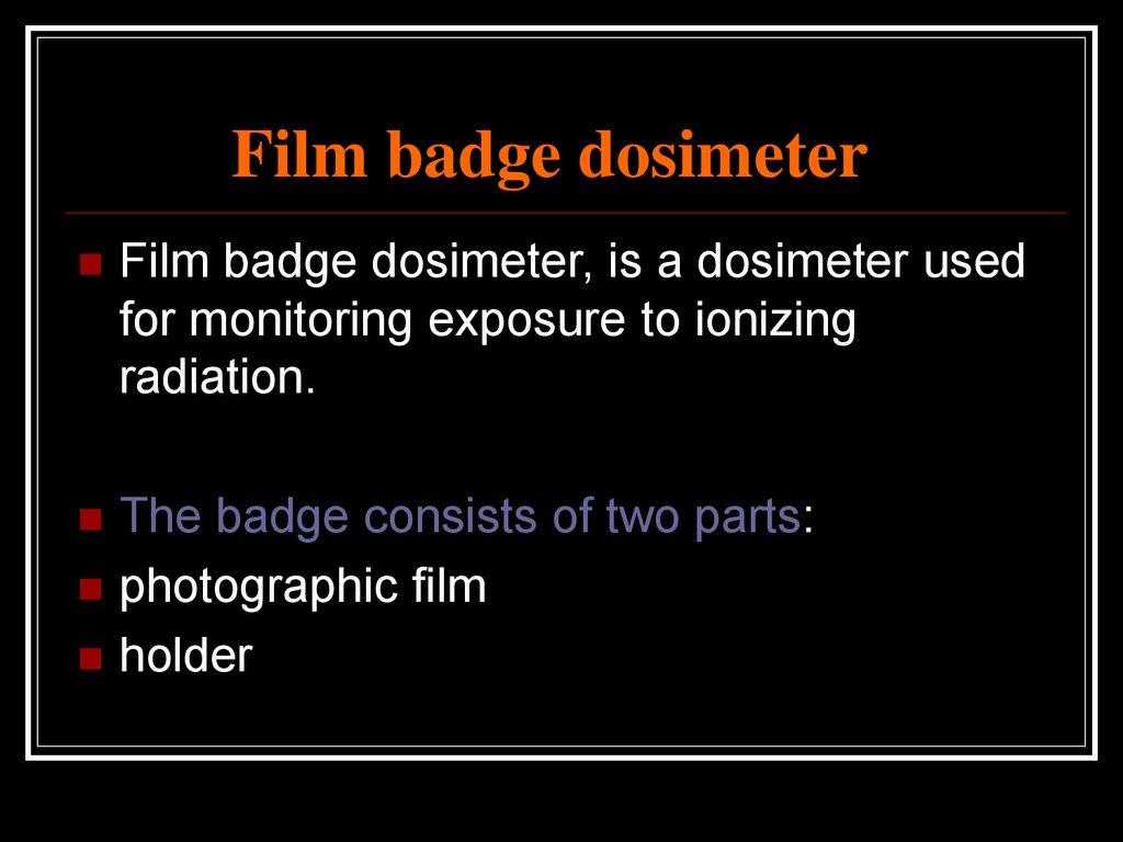 Radiation Dosimetry Online Presentation