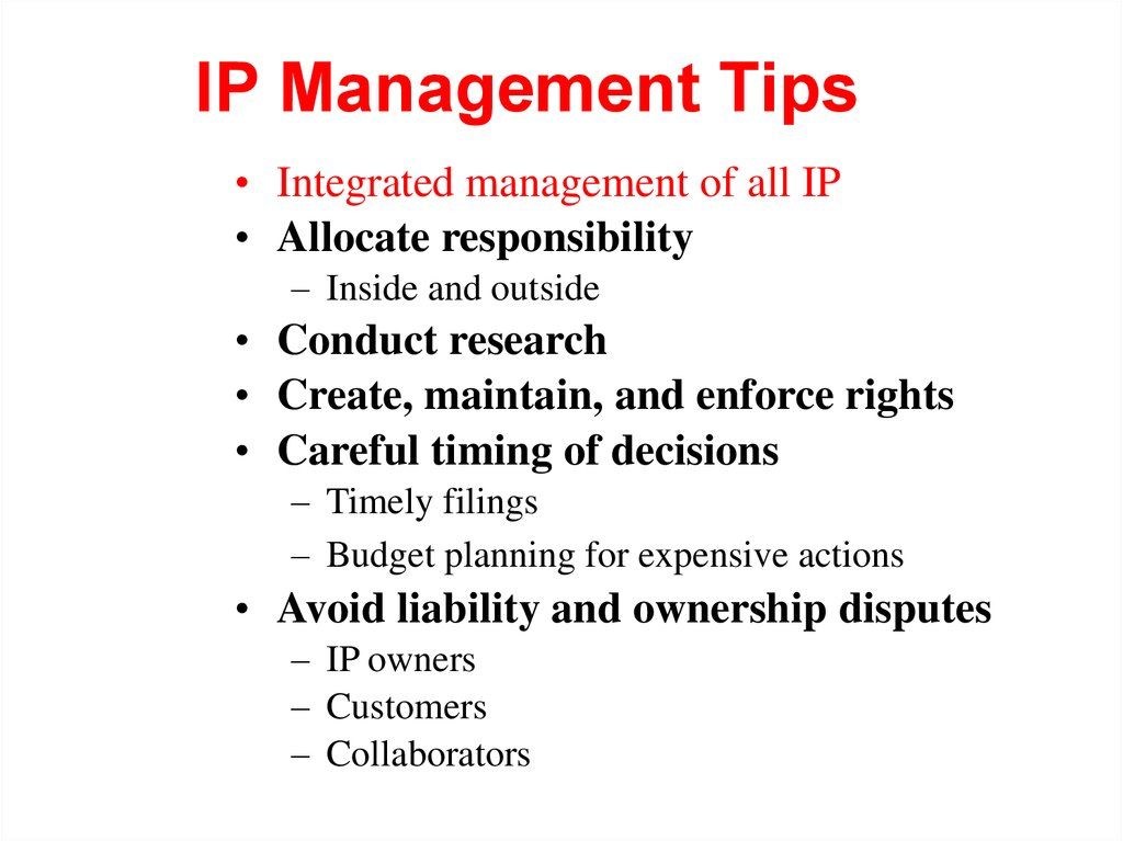 IP Management Tips