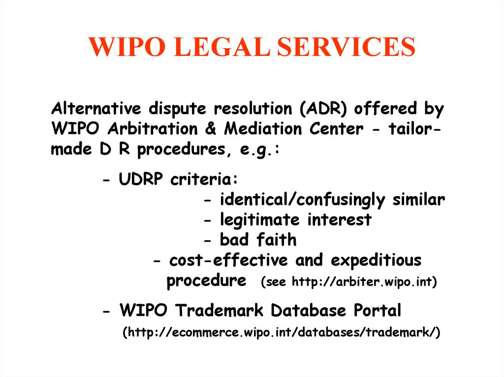WIPO LEGAL SERVICES