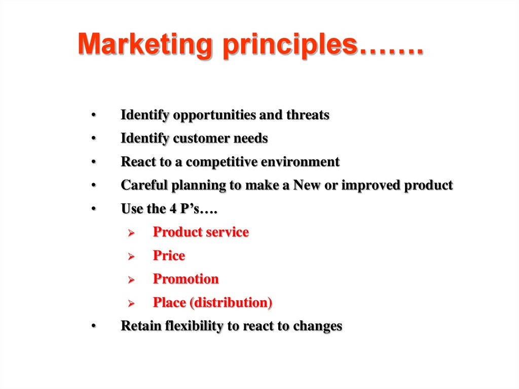Marketing principles…….